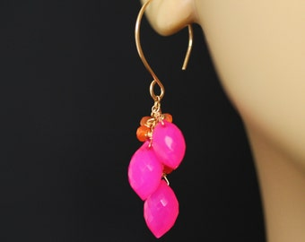 Pink Chalcedony Earrings, Fuschia Earrings, Hot Pink Earrings