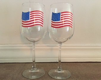 Hand Painted American Flag Wine Glasses - set of 2