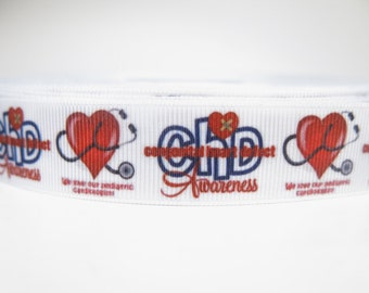 "5 yards of 7/8 inch ""CHD awareness"" grosgrain ribbon"