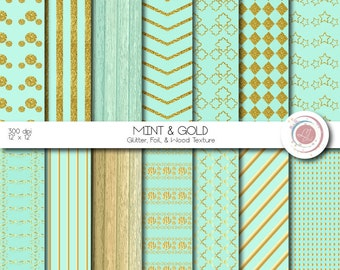 Mint Green and Gold Digital Papers, Gold Glitter, Gold Foil, Wood,Textured, Scrapbooking, Crafts, Foil, Patterned, Chevron, Stripes