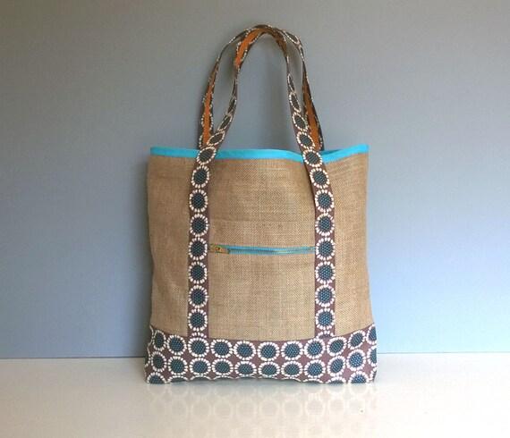 Handmade Jute Tote Bag Summer Beach Tote Straw Bag Shopping