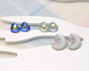 Girls earrings - Hearts and Moons