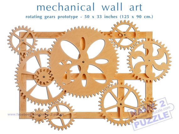 Mechanical Wall Art Kinetic Wall Art Decor Wooden Gears Wall
