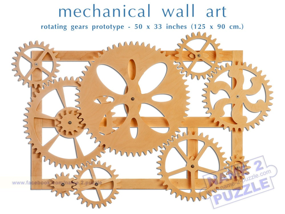 Mechanical Wall Art. Kinetic Wall Art Decor. Wooden Gears Wall Decor Sculpture.