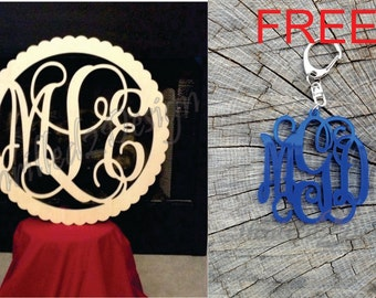 24 Inch Scalloped Circle Vine Wooden Monogram & FREE Keychain - Wedding, Nursery, Home