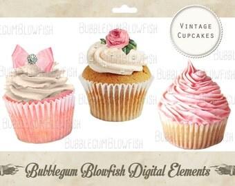 Vintage Pretty Cupcakes Digital Graphic Design Elements