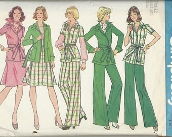 Simplicity 6857      Misses unlined front – wrap jacket, skirt and pants    size 12   C1974