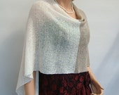 Knit Linen Poncho. Ivory  Natural  Linen brown colour Womens Shawl Wrap Poncho Shrug Wedding Womens  Accessories Occasion wear