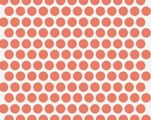 Organic Fabric - Birch Fabric Dottie Coral Mod Basics - Polka Dot Fabric - 1/2 Yard