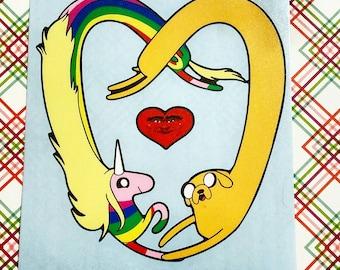 Adventure Time Lady Rainicorn and Jake heart sticker Decal  Fan Art