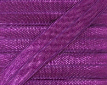 Ultra Violet Fold Over Elastic - Elastic For Baby Headbands and Hair Ties - 10 Yards of 5/8 inch FOE