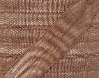 Mocha Fold Over Elastic - Elastic For Baby Headbands and Hair Ties - 5 Yards of 5/8 inch FOE
