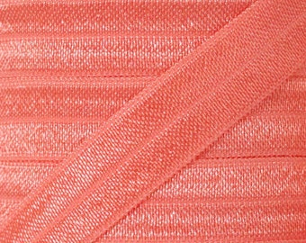 Light Coral Fold Over Elastic - Elastic For Baby Headbands and Hair Ties - 10 Yards of 5/8 inch FOE