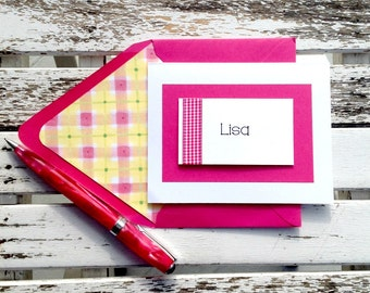 Personalized white card with hot pink gingham trim on a white card and a coordinating lined envelope. Set of 6 cards + envelopes.