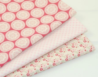 Tilda Fabric Fat Quarter Bundle - PINK & RASPBERRY RED - Pack of 3 Fat Quarters