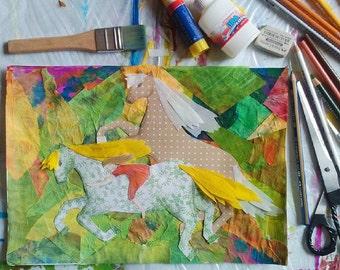 """Original mixed media collage """"Horses"""", Original art, paper collage, original paper collage, collage, horse"""