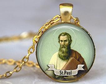 ST PAUL Necklace Saint Pendant Necklace Art St Paul Pendant Jewelry Necklace Religious necklace Religious Jewerly St Paul Medal Necklace