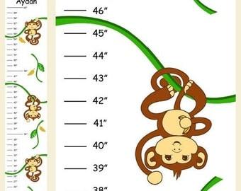 Personalized Hanging Boy Monkey Canvas Growth Chart