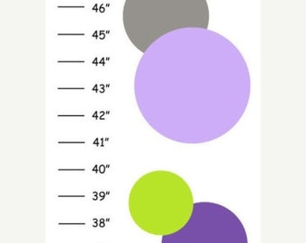 Personalized Gray Lime Purple Canvas Growth Chart