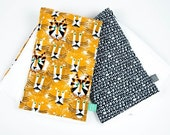 Ed Emberley Lions and Tigers Fox Burp Cloths -Set of 2