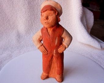 10% SALE! Terracotta Clay Figure Peru Peruvian Man with Hands On Hips Primitive Folk Art Excellent Condition  0707 10793