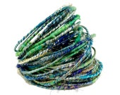 Ocean Blue WoolyWire - Wool felted jewelry supply - wire wrapping jewelry - wire weaving supply - 36 inches