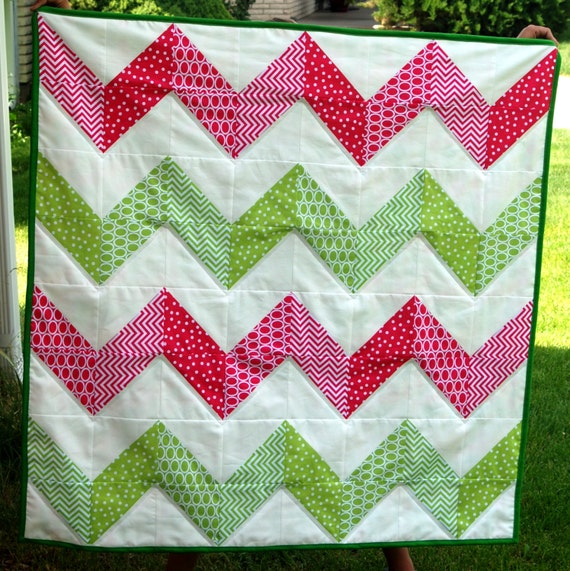 Items similar to SALE!! Pink & Green Chevron Modern Baby ...