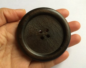 "one piece   extra /Large 67mm(2.63"") dark brown  Wood button  2holes( W1069)"
