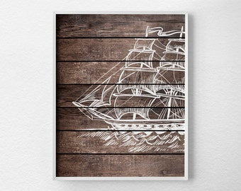 Nautical Art, Nautical Decor, Nautical Bathroom, Rustic Nautical Print, Pirate Ship Art, Nautical Nursery, Sailboat Art, Sailing Art, 0352