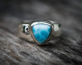Larimar Ring - Size 6 Larimar Ring -  Turtleback Larimar ring - Genuine Larimar - AAA Larimar Ring  - Larimar Jewelry