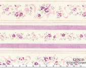 Japanese Fabric ~ Lecien Fabric ~ Purple Roses and Stripes Fabric ~ Durham Quilt Collection ~ Cotton Fabric ~ Quilt Fabric ~ Apparel Fabric
