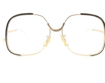 Vintage Eyeglass Frame | Gold and Black | Oversized Round Glasses  - Shadow Gold