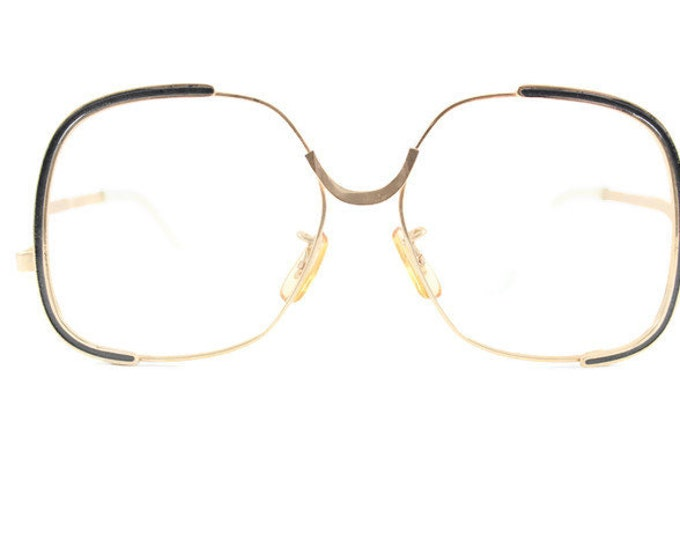 70s Vintage Eyeglass Frame | Oversized Round Glasses | NOS 1970s Gold and Black Eyeglasses | Deadstock Eyewear   - Shadow Gold
