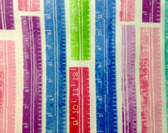 SALE - One Half Yard of Fabric Material - School Supplies Rulers, White