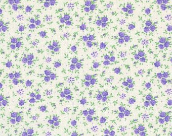 Studio e - Purple Calico Flowers on White Background - Cotton Woven