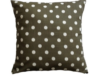 "15% OFF! Brown Polka Dot Pillow Cover. 18"" x 18""."