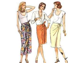 McCall's 4862 Misses Mock Wrap Skirt Size Small Sewing Pattern