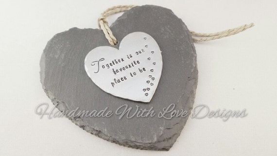 Slate hanging heart decoration, decorative handstamped personalised