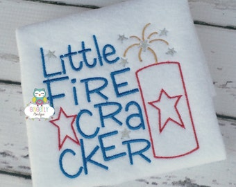 Little Firecracker Patriotic or 4th of July Shirt or Bodysuit, Firework Shirt, Independence Day, 4th of July, First 4th of July, Fireworks