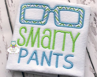 Smarty Pants with Glasses School Shirt, First day of School, Back to School, School Shirt, Glasses shirt, Smarty pants shirt