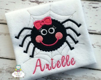 Spider with Bow Halloween Shirt or Bodysuit, Halloween Shirt, Girl Halloween, Spider Shirt, Trick or Treat, Halloween