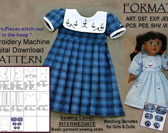 "18-Inch Doll Dress Pattern--Machine Embroidery DIGITAL DOWNLOAD, Sailboat Dresses,  ""In the Hoop"" (5x7), Printed Instructions Included"