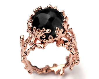 CORAL Black Onyx Ring, Rose Gold Onyx Ring, Women's Onyx Ring, Rose Gold Statement Ring, Black Gemstone Ring