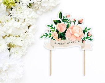 Blush floral wedding cake topper