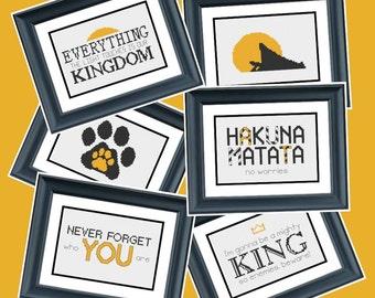 6 Patterns - The Lion King - Disney - PDF Cross-Stitch Pattern