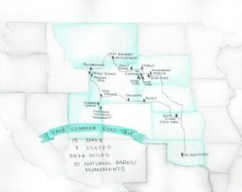 Custom Watercolor Illustration Map Road Trip Adventures Travels Original Artwork plus Digital Copy