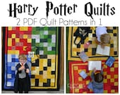 Harry Potter Quilt 2 Patterns in One - Single and 4-House Versions - Hogwarts House Quilts