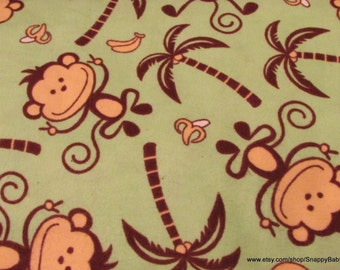 Flannel Fabric - Jungle Monkey Green- 1 yard - 100% Cotton Flannel