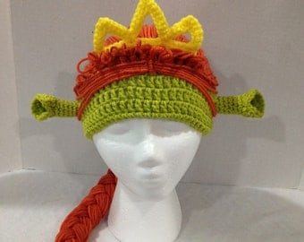 Shrek Princess Fiona inspired crochet ogre hat