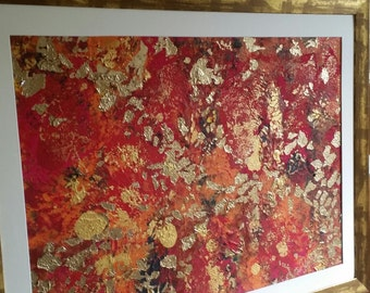 Abstract art with gold foil detail by Jan Puffett